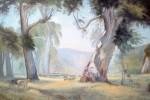 A Hans Heysen's water colour. Perry's interpretation in Oil.